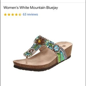 White Mountain Gold Leather Beaded Sequin Sandals
